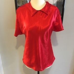 Tops - Red silky blouse with Peter Pan collar